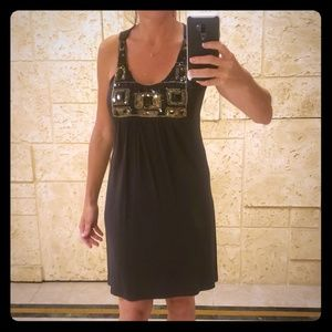 Grey midi dress w/black & grey embellishments